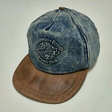 Adventure Bound Denim Leather Strapback Hat Vintage USA Made 80s 90s Vtg Sport