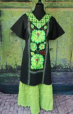 Black & Green Floral Hand Embroidered Cotton Huipil Tehuana Mexico Hippie Frida