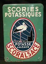 Ancienne plaque non emaillee tole peinte publicitaire potasse d'Alsace cigogne