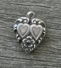 VINTAGE STERLING SILVER PUFFY HEART CHARM - Repousse Double Hearts with Flower