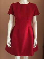 Auth Dolce & Gabbana Red Floral Jacquard Dress size 42