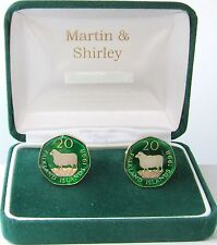 FALKLAND SHEEP Cufflinks made from coins in green and gold