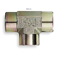 """Hydraulic Tee, 1/2"""" Female NPT, Plated Steel, Pipe Adapter, Fitting New  5605-08"""