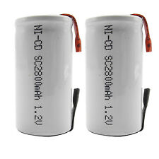 2PCS Sub C 2800mAh 1.2V Ni-CD Rechargeable Battery Tabs Power Tools RC White