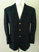 Vintage 90s Tommy Hilfiger men blazer sport coat blue green plaid crest gold 44R