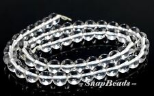 7MM FALLING SNOW ROCK CRYSTAL CLEAR QUARTZ GEMSTONE ROUND 7MM LOOSE BEADS 15.5""