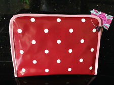 New Oilcloth Folding Wash Bag Red & White spot by Love Lammie