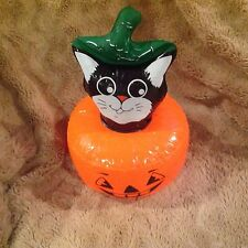 Halloween Cat in Pumpkin inflatable16 inch Halloween decoration non scary nip
