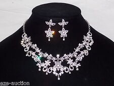 Wedding Bridal White Pearl and Cubic Zirconia Necklace & Earrings Set - 0002