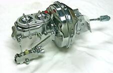 "GM 9"" Chrome Power Brake Booster 1"" Master Cylinder Disc Drum Kit Chevelle Monte"