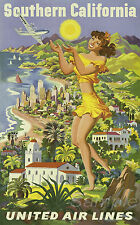 VINTAGE SOUTHERN CALIFORNIA UNITED AIRLINES TRAVEL A4 POSTER PRINT