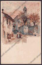 VERBANIA CITTÀ 209 SUNA Illustratore MANUEL WIELANDT Cartolina primi '900