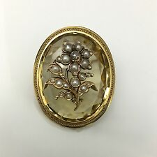 Large Victorian Rose-cut Diamond, Seed Pearl and Citrine Forget-Me-Not Brooch