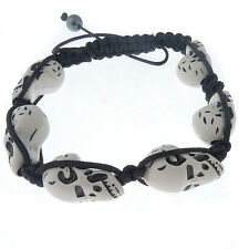 Fashion Braid bracelet with white Howlite skull beads magnetite Macrame