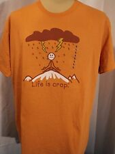 NEW Funny Rust T Shirt - Men's Large - LIFE IS CRAP - NWOT - Hit By Lightning