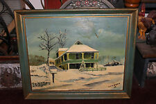 Vintage Oil Painting-Country Home In Snow-Mailbox-Garage-1966-Signed-Detailed