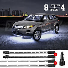 8 tubes 4 strips Low Profile LED Undercar Interior Bed WHITE Light Plug&Play