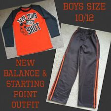 New Balance & Starting Point Gray & Orange Athletic Pants, Shirt Outfit Sz 10/12