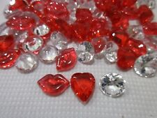 Lot of (100) Valentines Lips Hearts Red Gems Table Decorations Bowl filler