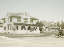ANTIQUE PHOTO ON GLASS SPANISH COLONIAL HOUSE EARLY AUTOMOBILE.