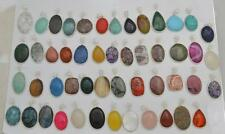 Wholesale 50 Pendants Charoite Chalcdoney Mix Stone Solid 925 Silver Jewelry