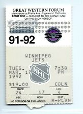 Winnipeg at Kings ticket stub 3/17/1992; Wayne Gretzky, Luc Robitaille assist