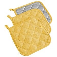 Baking Terry Cloth Potholder Kitchen Cooking Oven Mitts Hot Pad Set Of 3 Yellow