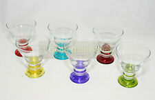 Set of 6 Coloured Base Glass Bowls Ice Cream Dessert Cup Sundae Fruit Trifle 319