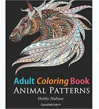 Adults Coloring Book Animal Designs Relax Stress Relief Patterns Therapy Fun