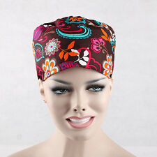 Doctors Women's Chef Flower Print Scrub Skull Cap Medical Surgical Surgery Hat