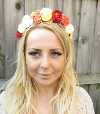 Yellow Red Ivory White Rose Peach Flower Garland Headband Hair Crown Floral 1878