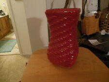 "Longaberger Tomato Red  Small  Vase Gorgeous Color! 4"" square x 8"" Tall"