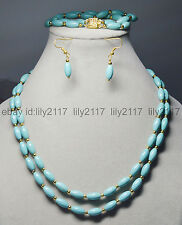 Natural 2 Rows 6x11mm Blue Turquoise Rice Gems Beads Necklaces Brecelet Earrings
