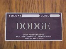 OLD DODGE CAR TRUCK WARRANTY INFO ID PLATE YEAR 1925 -1955