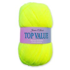 James C Brett Top Value Double Knitting DK Wool Yarn - Neon Yellow 8454 (100g)