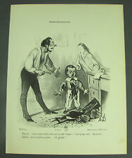 """Honore Daumier, Vintage French Art Print """"MOEURS CONJUGALES No.2"""", 12.5"""" x  9.5"""""""