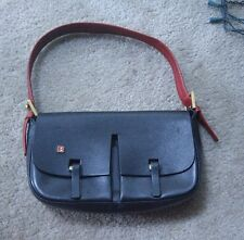 Bally Black Leather Red Strap Shoulder Handbag Snap Free Ship