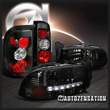 Dodge 97-04 Dakota Smoke SMD LED DRL Headlights+Black Tail Brake Lamps