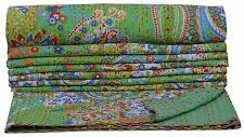 Green Paisley Indian Twin Kantha Quilt Bedspread Blanket Bedding Throw Handmade