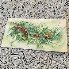 Vintage Greeting Card Christmas holly Red Berries