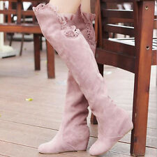 WOMEN LADIES OVER KNEE THIGH HIGH HEEL FLAT SLOUCH FAUX SUEDE BOOT SHOES SIZE 8