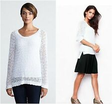 NEW EILEEN FISHER SZ M Long Sleeve Hi-Low Knitted Tunic Top Sweater White Cotton