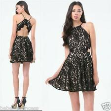 NWT bebe black ivory nude overlay lace open back straps flare to dress XXS XS 0