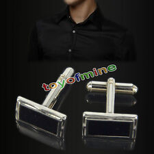Mens Boys Stainless Steel Business Shirt Silver Enamel Wedding Cufflinks Hot