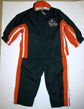 UM University of Miami 2 Piece Outfit Jacket Pants Lined Poly Green Orange 12 mo