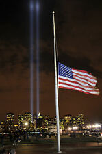 9/11 Tribute Lights New York Large World Trade Centre Photo American FlagPicture