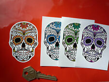 "Day of the Dead Sugar Skull Vinyl Decal Car Stickers 3"" Pair Mexican Rockabilly"