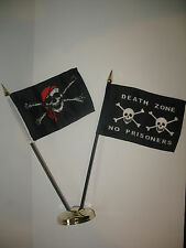"""Jolly Roger Red Hat Pirate w/ Death Zone Flag 4""""x6"""" Desk Set Gold Base"""