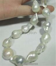 Real Huge AAA south sea white Baroque 12-20mm genuine pearl necklace 18 inch