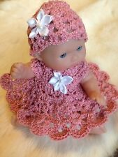 "Crochet Doll Clothes for 5"" Berenguer Itty Bitty Rose 2 pc Outfit"
